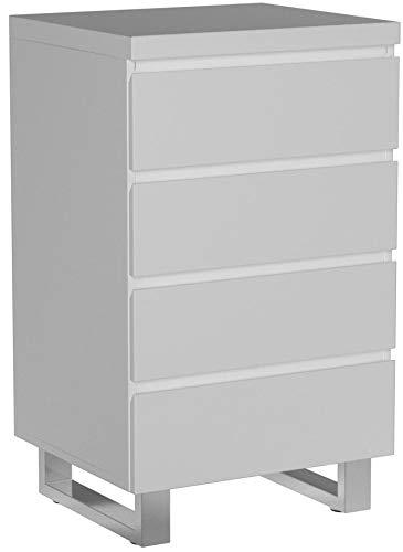 Robas Lund 48905W1 Sydney Kommode, 4 Schubkästen, Chromfüße, 56 x 93 x 42 cm, Hochglanz weiß - 3