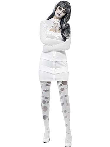 erdbeerclown - Damen Frauen Kostüm Geister Gespenster Horror Psycho Patientin der Irrenanstalt, Creepy Psycho Lady, perfekt für Halloween Karneval und Fasching, M, Weiß (Gespenst Damen Kostüm)