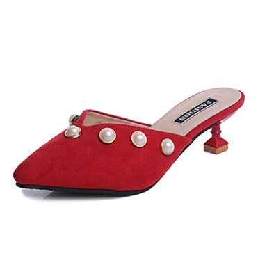 Scarpe Donna FYZSDonne Sandali estate PU comfort all'aperto Walking tacco basso Rosso Beige Nero US7.5 / EU38 / UK5.5 / CN38