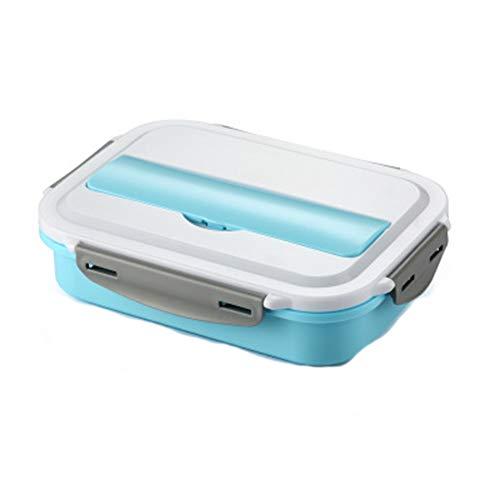 Bento-Box, Lunchbox aus Edelstahl, Lunchbox für Schüler und Kinder, vierlagige Auskleidung, mit isolierter Tasche-blue