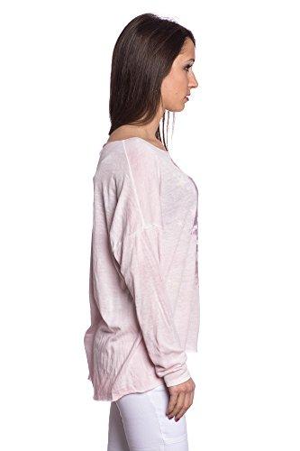 Abbino 15524 Shirts Tops Damen - Made in Italy - Viele Farben - Frühjahr Herbst Sommer Übergang Damenshirts Damentops Viskose Bedrucken Locker Lässig Langarm Sexy Sale Freizeit Elegant Rosa (Art. 15524-1)