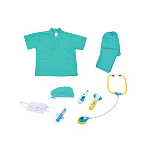 Toyvian Kinder arzt cosplay kostüm outfit langarm mantel mit kappe doktor rolle play set kits spielzeug (grün)