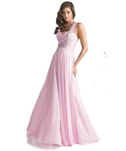 KAIDUN Damen Langes One-Shoulder Abendkleid Abschlussball Party kleid Pink 40