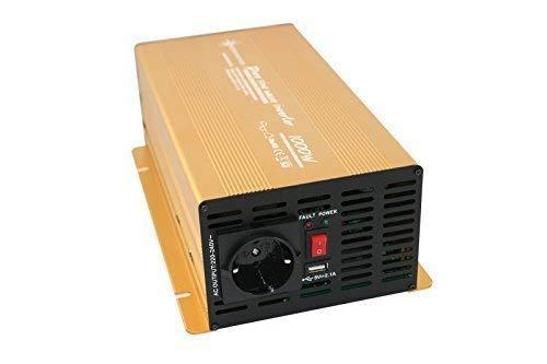 Wechselrichter - Spannungswandler 12V 300 bis 3000 Watt reiner SINUS mit echtem Power USB 2.1A Gold Edition ... (1000-2000 Watt)