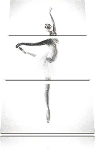 Ballerina estetica carbone effetto disegno 3 pezzi picture tela 120x80 immagine sulla tela, XXL enormi immagini completamente Pagina con la barella, stampe d'arte sul murale cornice gänstiger come la pittura o un dipinto ad olio, non un manifesto o un banner,