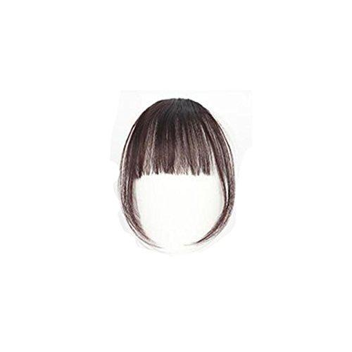 ESAILQ Hübsche Mädchen Clip On Clip In Front Hair Bang Fransen Haar Verlängerung Stück Thin Mini Luft Liu Hai Perücke (Haar Rot Verlängerung)