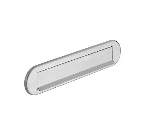 JUVA Brief-Schlitz universal Durchwurfbriefkasten für Haustüren Brief-Einwurf für Post-Kasten - H7041 Startec | 350 x 73 mm | Edelstahl matt | mit Feder | 1 Stück