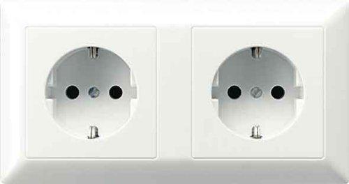 Preisvergleich Produktbild Jung AS522BFWW Kabel-Kanal-Schuko -Steckdose 2-fach
