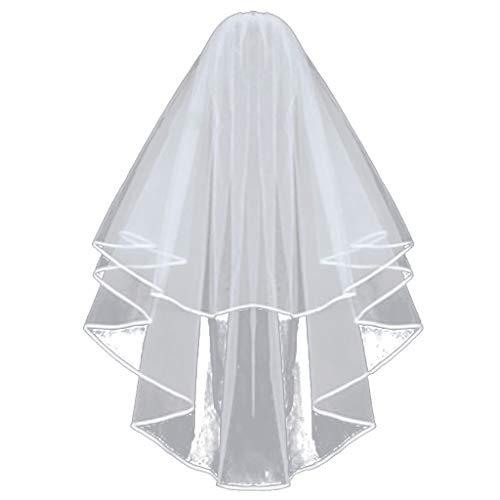 KUDICO Damen Schleier Deko Accessoires mit Kämmen für Braut Hochzeit den Junggesellinnenabschied Weiß Tüll Doppelte Band Rand Brautschleier(Beige, One size)