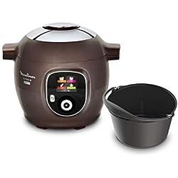 Moulinex Multicuiseur Intelligent Cookeo+ Gourmet 6L 150 Recettes préprogrammées + Moule à Gâteaux Inclus CE852900, Marron glacé