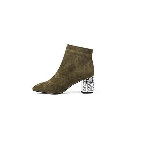 Damen Leder Stiefeletten Frauen Hoher Absatz Ankle Boots Elegant High Heels Blockabsatz Sexy Spitze Wildleder Kurzschaft Mit Reißverschluss Große Größe (40, Khaki Wildleder)