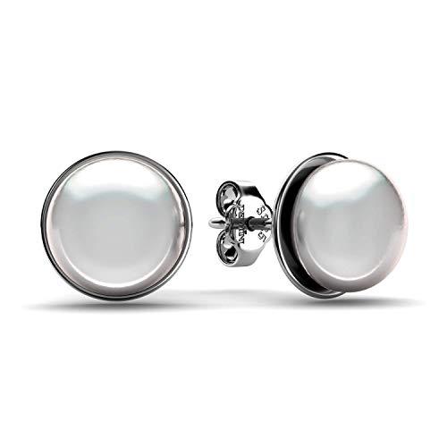 DEPHINI - Orecchini di perle - argento Sterling 925 - gioielli raffinati - Orecchini a goccia con vera perla oceanica - orecchini bianchi per donne - Premium placcati al rodio - regali per donne