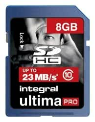 Integral Ultima Pro SDHC Memory Card with Protective Case Class 10 20MB/s 8GB Ref INSDH8G10V1