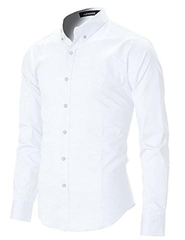 FLATSEVEN Chemise Oxford Slim Fit Casual Col Boutonné Homme Manche Longue (SH611) Blanc, L