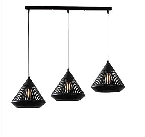 LERSS Leuchter-Beleuchtung Matte Black Vintage-Embedded-Leuchter-Beleuchtung Schienenlicht Industrie Edison Hanging 3 Kéfig Loft Leuchtenaufsatz (Farbe : B) -