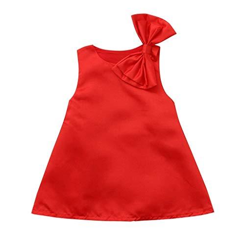 Für Ausgefallene Kostüm Kleid - Milkiwai Kleinkind Baby mädchen Kleid, solide Bowknot Kleid ärmellose röcke ausgefallene Casual kostüm für 1-5 Jahre alt (Color : Red, Size : 100(Aged 18-24 Months))