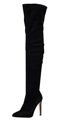 Guoar High Heels Große Größe Spitze Zehen Zip Decoration Knie Hoch Hohe Stiefeletten mit Stiletto Absatz Ballsaal Party Club A-Schwarz