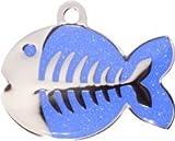 Pet-Tags Bow Wow Meow mit Personalisierung Dunkelblaue Katzenmarke glitzernder Fisch (Klein) | GRAVURSERVICE | Personalisierte, Moderne Design-Haustiermarken