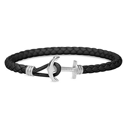 PAUL HEWITT Anker Armband Herren und Damen PHREP Lite - Männer und Frauen Leder Armband (Schwarz), Armband mit Anker Schmuck aus Edelstahl (Silber)