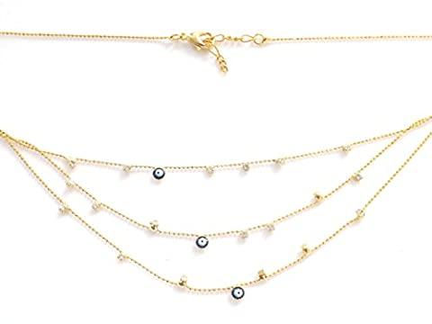 Remi Bijou–Elegant Triple Layered Necklace with Multiple Pendants–Blue Eye Nazar