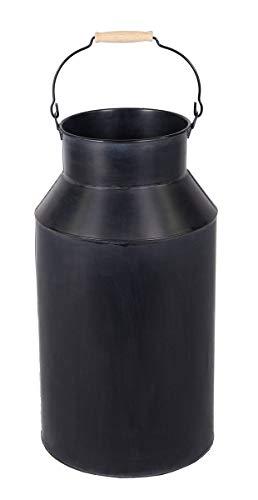 Fachhandel Plus Milchkanne groß mit Henkel 57 cm Deko-Kanne Metallkanne mit Griff Vase Schirmständer Regenschirmständer schwarz