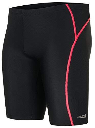 Aqua Speed® Blake REVO Schwimmhosen Herren | Enganliegend | Wassersport | Chlorresistent | Atmungsaktiv | UV-Schutz | Fusselfrei | Formbeständig, Größe:M, Farbe:Schwarz/Rot/REVO