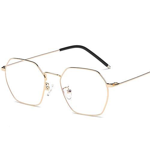 Yiph-Sunglass Sonnenbrillen Mode Blaue Brille Die flachen Licht unregelmäßigen Polygon Männer und Frauen LUE Shading Brille für Sutdents/Büroangestellte