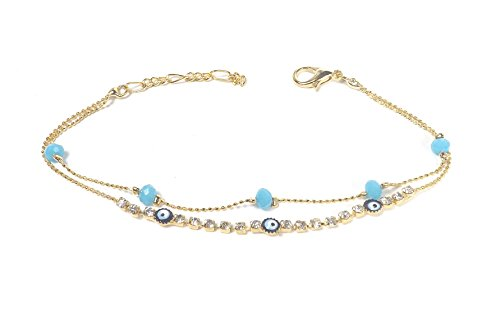 Remi Bijou - elegantes Armband Armkette Armreif - blaues Auge Perlen türkis Nazar Boncuk Perlen Zirkonia Strass