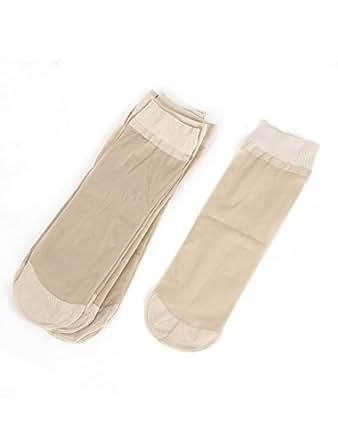 5 Paar Durchsichtig Elastisch Beige Schier Seide Strümpfe Socken für Damen - Beige, Damen, Einheitsgröße