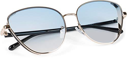 styleBREAKER Damen Cateye Sonnenbrille mit Glitzer Element, Metall Rahmen und Polycarbonat Gläser, Katzenaugen Form, Retro Look 09020104, Farbe:Gestell Gold/Glas Blau getönt