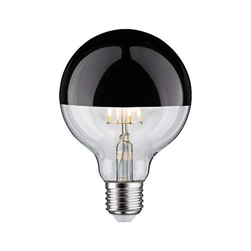 Paulmann 28677 LED Lampe Filament G95 6 Watt Leuchtmittel Kopfspiegel Schwarz Chrom 2700 K Warmweiß dimmbar E27