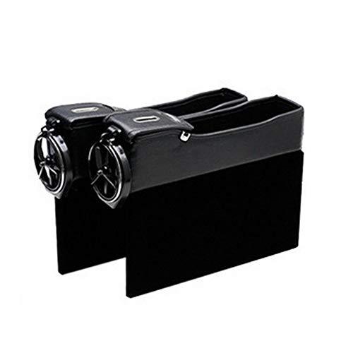 Peanutaod Doppelte USB-Aufladung Seitliche Aufbewahrungssteppbox für Autositze Aufbewahrungsbox aus Leder Mit Getränkehalter Agile Stereo