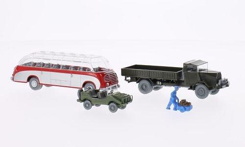Set WIKING-VERKEHRS-MODELLE Nr.13: DKW Munga, MAN Gelände LKW, Setra Bus und Handwagenfahrer, Modellauto, Fertigmodell, Wiking / PMS 1:87