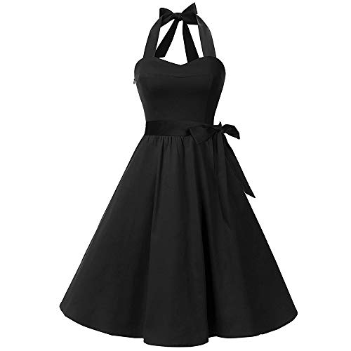 Damen Vintage Bodycon Sleeveless Halter beiläufige Tanzabend Party Prom Brautjungfern Swing Dress Faltenrock Cocktailkleid(X3-Schwarz, EU-36/CN-S) ()