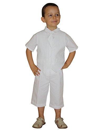 ccc65b581966f Tenue de cérémonie garçon bermuda + gilet + chemisette + cravate - Blanc -  12 mois
