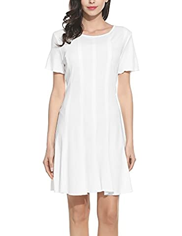 Meaneor Women's Casual Short Sleeve Pleated Flowy Tunic Mini Dress