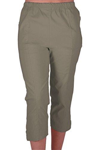 EyeCatchClothing Cora Damen Stretch Capri Crop Shorts Capri-Hose Pants der Frauen 3/4 Dreiviertelhose Khaki Gr. 40 Khaki Crop Hose