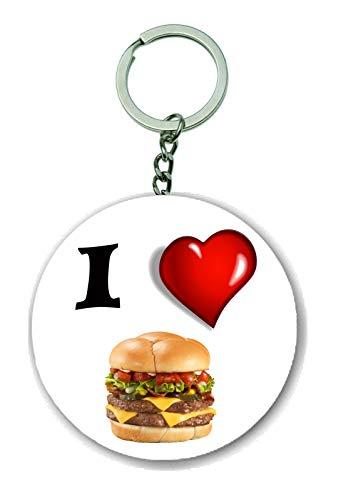 Gifts & Gadgets Co. I Love Cheese Burger Flaschenöffner Schlüsselring 58mm rund Schlüsselanhänger