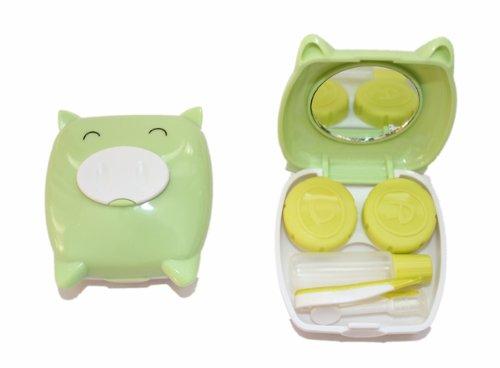 Kontaktlinsenbehälter Spiegel (Kontaktlinsenbehälter Aufbewahrungsbehälter Etui Set Spiegel Mini Schwein Hellgrün)