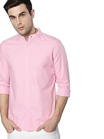 Dennis Lingo Men's Plain Slim Fit Casual Shirt (CC201_Pink_Small)