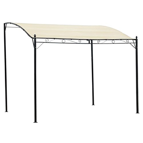 Festnight gazebo da giardino esterno,pergolato da giardino esterno tettoia in tessuto bianco crema e struttura in acciaio 3 x 2,5 m