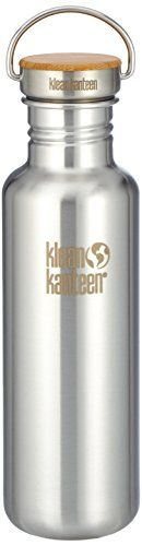 Image of Klean Kanteen Edelstahlflasche mit Unibody Bamboo Cap 800 ml Reflect, Brushed Stainless, 8020054