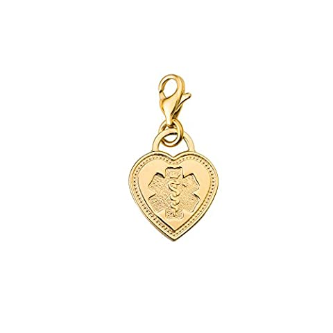 Divoti Custom Engraved Premier PVD 316L Medical Alert ID Heart Charm w/ Lobster Clasp -Gold