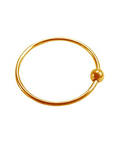 Gandhi Jewellers Shiny Simple Gold Nose Ring Plain NoseRing. Ball Plain Shinny Gold Nose Ring. Ball Stlish.