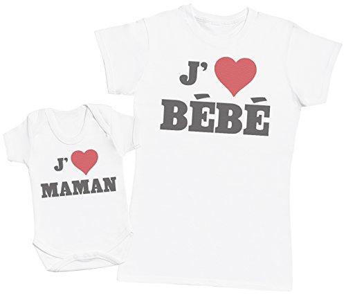 Zarlivia Clothing Love Bébé & Love Maman - Ensemble Mère Bébé Cadeau - Femme T Shirt & bébé Bodys - Blanc - XXL & 12-18 Mois