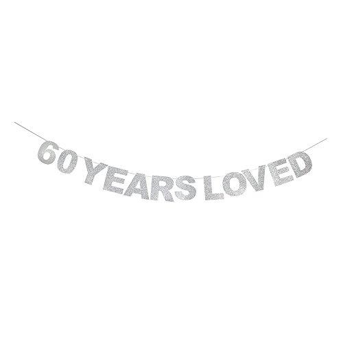 waway 60Jahren Loved Banner Silber Glitzer Herz für 60. Jahrestag 60Jahre Alt Geburtstag Party Dekoration Supplies