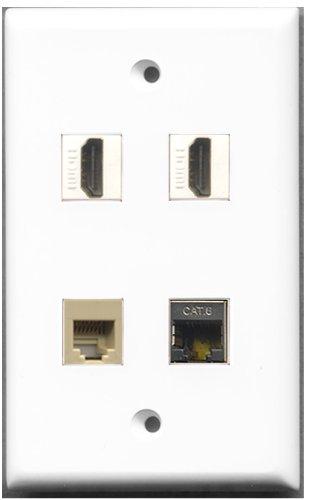 RiteAV-2Port HDMI 1Port Telefon RJ11, RJ12, beige 1Port geschirmt, Cat. 6Ethernet Wall Plate