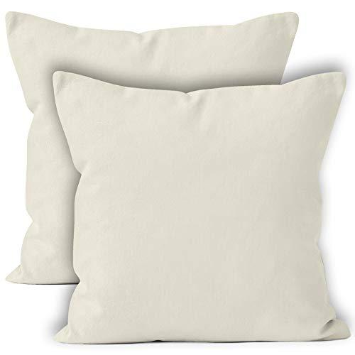 Encasa homes - set di 2 federe per cuscini., cotone, naturale, 40cm x 40cm (16
