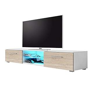 Selsey Edith - Meuble TV Suspendu / Table Basse TV / Banc TV de Salon (140 cm, Blanc Mat / Brun Clair mat avec l'éclairage LED bleue)