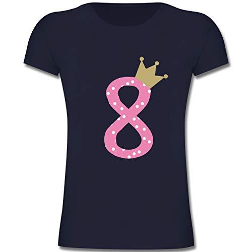 Geburtstag Kind - 8. Geburtstag Krone Mädchen Achter - 128 (7-8 Jahre) - Dunkelblau - F131K - Mädchen Kinder T-Shirt
